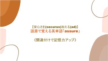 【安心さを(securus)加える(as=ad)】英単語「assure」の意味・覚え方【関連付けで記憶力アップ】
