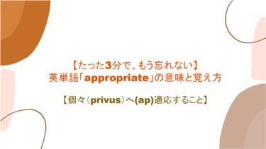 【3分でもう忘れない】英単語「appropriate」の意味と覚え方【個々(privus)へ(ap)適応すること】