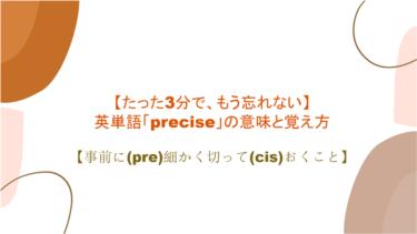 【3分で、もう忘れない】英単語「precise」の意味と覚え方【事前に(pre)細かく切って(cis)おくこと】